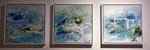 Aqua 3-teilig mit Rahm, 30x90, Acrylcollage, Verkauft