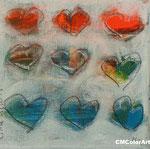 little hearts 3, 13x13, Acryl, verkauft