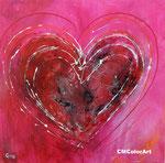 Pink heart, 70x70, Mischtechnik