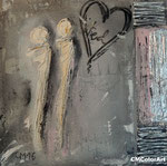 Love in silver, 30x30 XL, Acrylcollage mit Silber