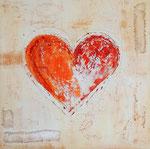 Herz, Mischtechnik, 70x70, Verkauft