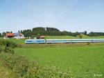 Allgäu-Express ALX 84146 ist am 21. August 2012 in passender Kulisse bei Görwangs unterwegs.