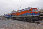 232 107 der NbE, die 335 212 (V 252) der Mittelweserbahn und die neu übernommene 225 071 der NbE stehen am 6. April 2012 in Aschaffenburg auf den NbE-Gleisen abgestellt.
