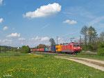 185 062 am 23. April 2014 südlich von Hünfeld.