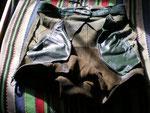 Grün – gelb - grau · Bund 82 cm · 20100320 · Innenseite vorn mit rechter und linker Tasche