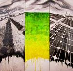 Trittico - La città ideale è dove la realtà attuale, la salvaguardia del passato, la protezione del ambiente si uniscono all'unisono e osannano l'energia pulita, per migliorare la qualità di vita (mista) 120 x 120 - 2012 COLLEZIONE PRIVATA