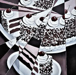 """Barbaras Kirschtorte"", Acryl auf Leinwand, 50x50cm"