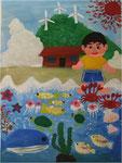 きれいな海と空、たくさんの生き物達汚したらもったいない 豊郷中央小学校1年 清住 蒼太