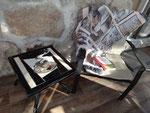 Table a café intérieur ou extérieur en mosaïque thème café 250$