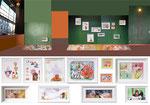 """""""Transparenz"""" watercolour, painted frames, pigment , silicone. SHOWCASE - Plattform für Gegenwart  Alexandra von Scholz  Linienstraße 106 / Ecke Kleine Hamburger Straße, 10115 Berlin-Mitte"""