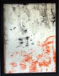 Transfer Picture Orange Schwarz I, Kunstharzdispersion auf Baumwolle, 2001    70x90cm