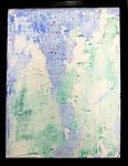 Transfer Picture Grün Blau I, Kunstharzdispersion auf Baumwolle, 2002  70x90cm