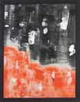 Transfer Picture Orange Schwarz II,    Kunstharzdispersion auf Baumwolle, 2001 70x90cm