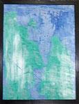 Transfer Picture Grün Blau II, Kunstharzdispersion auf Baumwolle, 2001  70x90cm