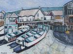Midday silence in a Cornish fishing village -2015 -  Acryl auf Papier  - 32x24 cm - Erhältlich