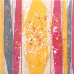Pinky Yelly II - Mixed Media auf Holz mit Epoxidharz - 50 x 50 cm