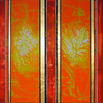 Dancing Green II - Mixed Media auf Holz mit Epoxidharz - 80 x 80 cm