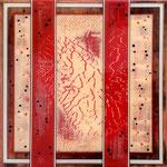 Double Heart II - Mixed Media on wood with epoxy resin - 40 x 40 cm