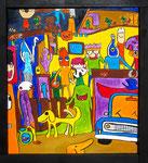 『人が集まる家 いえNo.1』Oil painting F10 530 ×455   Copyright ©2012 U-1 `s nezumi13 All Rights Reserved.
