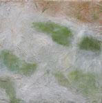 Camargue par terre 3, 08/2007 _____ 40x40 Acryl, Papier, Sand, Gräser auf Baumwolle