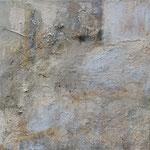 Camargue par terre1, 08/2007 _____ 40x40 Acryl, Gips, Sand, Bimsmörtel, schwarze Lava, Gräser auf Baumwolle