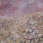 Camargue par terre2, 08/2007 _____ 40x40 Acryl, Papier, Gips, Bimsmörtel, Sand auf Baumwolle