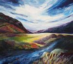 Berge mit Bach (2) - Acryl auf Leinwand - 70x80 cm - 2012