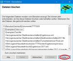 ... es erscheint eine Liste aller vom Benutzer erzeugten Dateien (insbesondere der Turnierdateien). Sie können alle Dateien behalten (auf Weiter klicken) ...