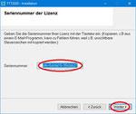 """Die Sereinnummer der gelöschten Lizenz wird als Default angezeigt. Übernehmen Sie diese Seriennummer durch Klicken auf """"Weiter""""."""