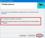 Am Ende der Deinstallation werden Sie gefragt, ob Sie benutzerspezifische Dateien und Einstellungen für eine anschließende Neuinstallation behalten wollen. Falls Sie sich dafür entscheiden, bleiben die installierten Lizenzen und alle Dateien erhalten.