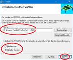 Der Installationsordner muss mit dem Zielverzeichnis aus dem Startfenster identisch sein. Ferner könnnen Sie hier entscheiden, ob das Programm nur für den aktuellen Benutzer oder für alle Benutzer installiert werden soll.