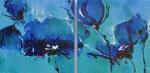 Korenblauw als tweeluik - 120x60 cm