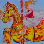Carrousel met meisje - 90x90 cm