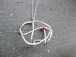 """Cosmic Rose - R002  """"宇宙にある薔薇""""  Necklace (Silver 925, Ruby)"""