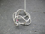 """Cosmic Rose - R001  """"宇宙にある薔薇""""  Necklace (Silver 925, Ruby)"""