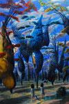 高木智広「落鳥の森」2011-2012 /キャンバスに油彩 / 1940x1303mm