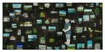 衣川 泰典「スクラップブックのような絵画#6(僕達の記憶Ⅱ)」 2012 / 木製パネルに印刷物、紙、アクリル、顔料、石膏、ジェッソ、メディウム、他 / 1750×3680mm