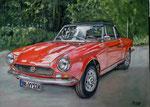Fiat Spider 124, Pastellkreide auf Pastel Card, ca. 30 x 40 cm, Fotovorlage: Joachim Männich