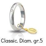 Fede Unoaerre Classica grammi  5,0 Oro Bianco con diamante 50 AFN 1/001
