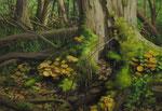 Andreas Leißner: *Wald II*, 2012, Öl/Nessel auf MDF-Platte, 36 x 52,5 cm