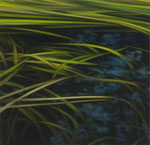 Andreas Leißner: *Wasserpflanzen II*, 2014, Öl/Hartfaserplatte, 17,5 x 17,5 cm