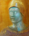 Klaus Ritterbusch: *Goldhelm*, o.J., Öl/Aluminium, 74 x 60,5 cm