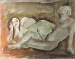 Roland Topor: *L'heure des braves* (Die Stunde der Tapferen), 1984, Mischtechnik, 75 x 58 cm (hinter Glas)