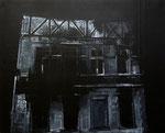 Heike Ruschmeyer: *Schwarz auf Weiß (13 I) - Solingen/29. Mai 1993*, 2014, Kreide, Kunstharz, Ölfarbe/Karton, 40 x 50 cm