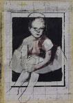 Heike Ruschmeyer: *Selbstporträt nach einem Foto meines Vaters aus dem Jahr 1963*, 1997, Bleistift, Kohle, Kunstharz, Kunstseide / Fotokopie, Papier, Collage, 42,5 x 30,8 cm