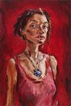 Bettina Moras: *Selbst in Rot*, 2009, Öl/Leinwand, 75 x 50 cm