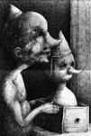 Piotr Kamieniarz: * Die Erwartung*, 2015, Acryl/Papier, 41 x 28 cm