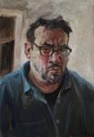 Pavel Feinstein: *N 2427* (Selbstporträt), 2019, Öl auf Papier/Holz, 60 x 60 cm