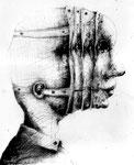 Piotr Kamieniarz: *Wahres Gesicht*, 2012, Tusche, Feder/Papier, 30 x 24 cm