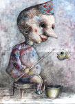Piotr Kamieniarz: *Angler III*, 2015, Acryl/Papier, 42 x 28 cm